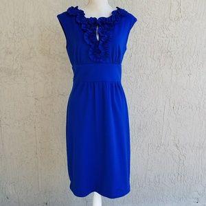 Blue Sheath Keyhole Dress